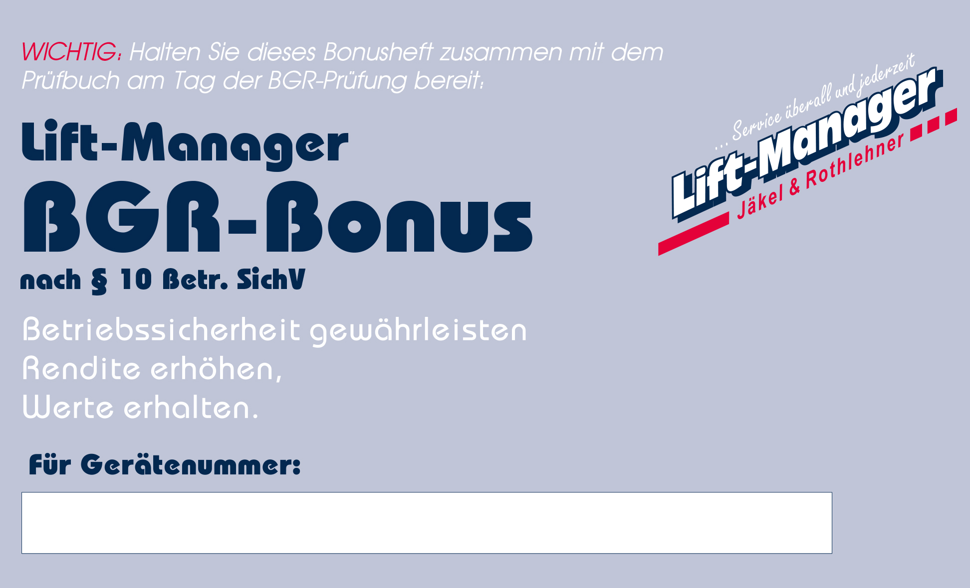 Lift-Manager Arbeitsbühnen Service - Sicherheitsprüfungen
